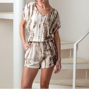 Charlotte Tarantola  shorts romper w/slit sleeves